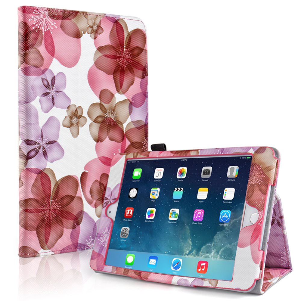 iPad Mini 4 Case (Floral Pink) - Slim Fit Synthetic Leather Folio Case Cover Stand for Apple iPad Mini 4 7.9 Inch Tablet 2015 Release with Auto Sleep Wake Feature and Stylus Holder