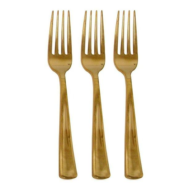 50 Gold Plastic Forks Elegant And