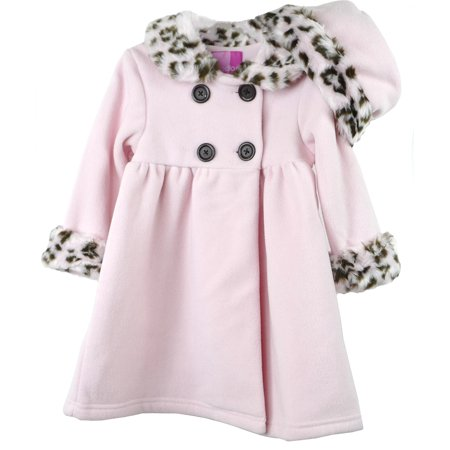 (Good Lad Toddler & 4/6X Girls Pink Double Breasted Fleece Coat with Animal Fur Trim and Matching Hat)