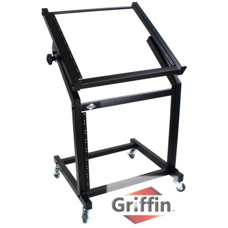Rack Mount Rolling Stand And Adjustable Top Mixer Platform Mount 19U By Griffin Cart Holder For Music Studio Pro Audio Recording Cabinet Stage Equipment Dj Pa Gear Display Case For Amplifiers  Effects