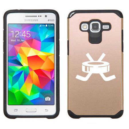 For Samsung Galaxy Grand Prime Shockproof Impact Hard Soft Case Cover Hockey Puck With Sticks (Gold)