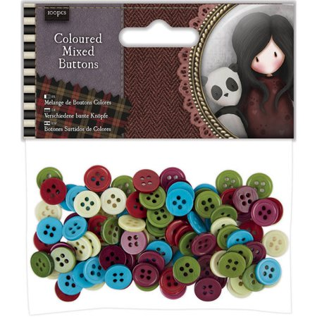 Santoro Tweed Mixed Buttons, 100pk