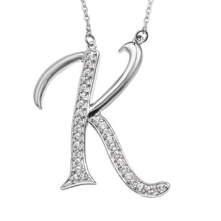 Initial K Necklace 925 Sterling Silver Round Zircon Jewelry for Women Size 20