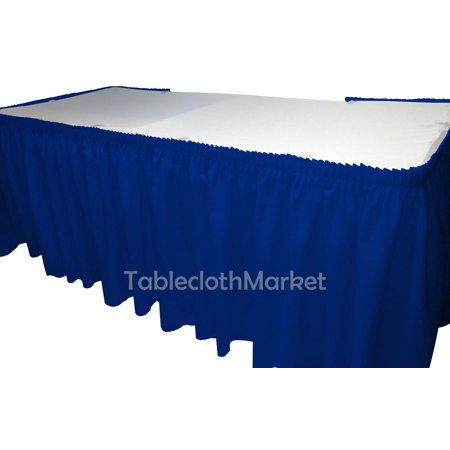 e1f714b2ad 14' ft royal blue POLYESTER PLEATED TABLE SKIRT skirting show Catering ...