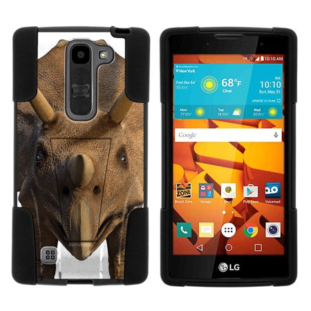 LG Volt 2 LS751 STRIKE IMPACT Dual Layer Shock Absorbing Case with Built-In Kickstand - Horn (Dinosaur With Horn On Back Of Head)