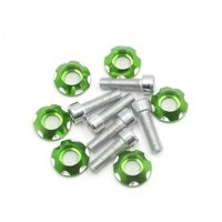 6 Pcs 6mm Thread Dia Green Motorcycle Decorative License Plate Hex Bolts Screws