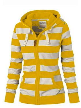 Women Striped Casual Hooded Winter Fashion Jumper Sweater Top Jacket Coat