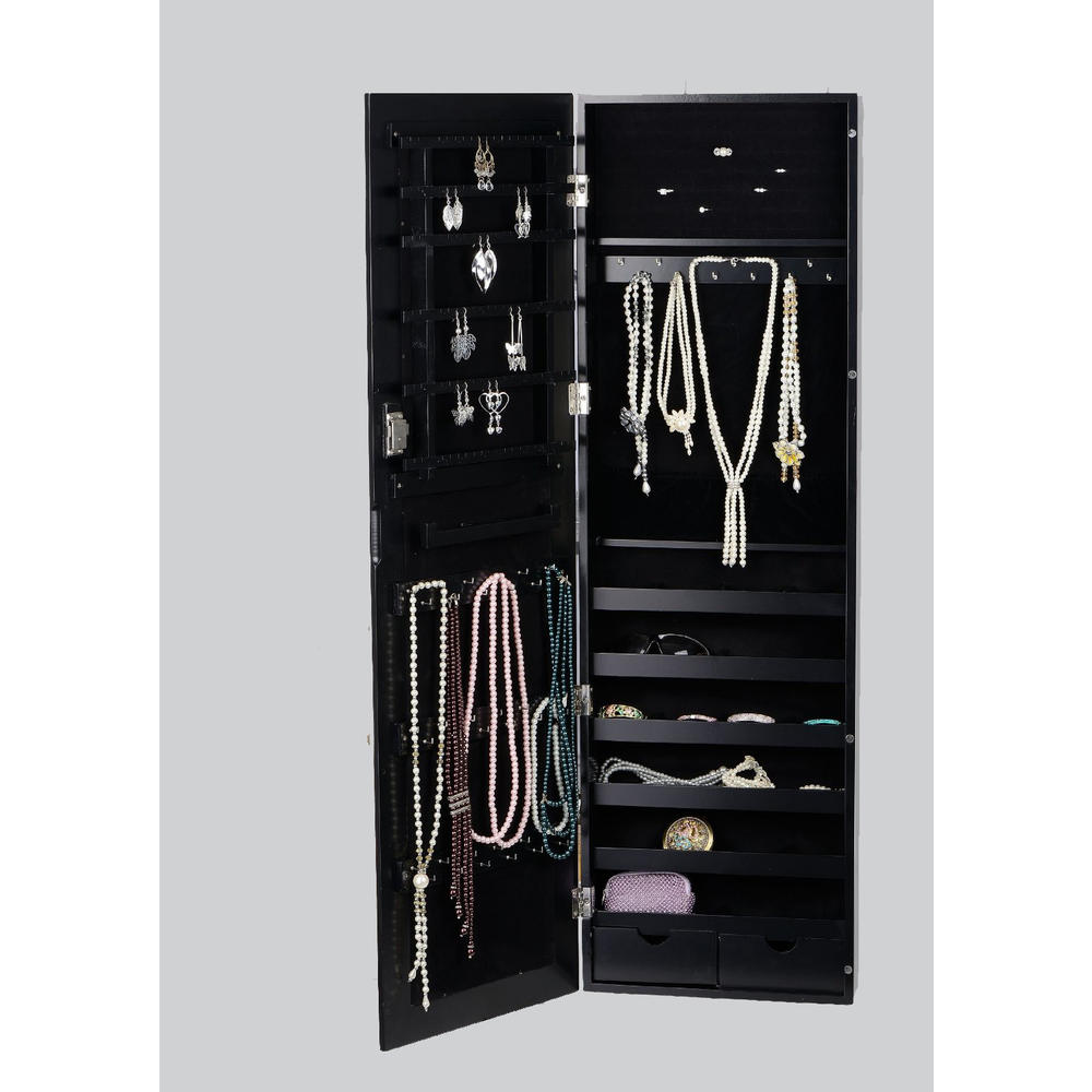 BTEXPERT�� Premium Wooden Jewelry Armoire Cabinet Wall mount Over the Door Hanger Organizer Storage box case Cheval Mirror Store Rings Holder Necklace Bracelets Earrings Organizer Key Lock - BLACK