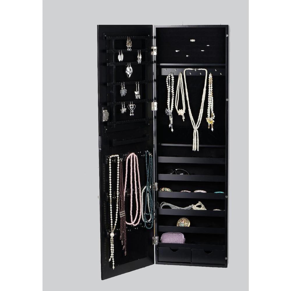 Btexpert 174 Premium Wooden Jewelry Armoire Cabinet Wall Mount Over The Door Hanger Organizer