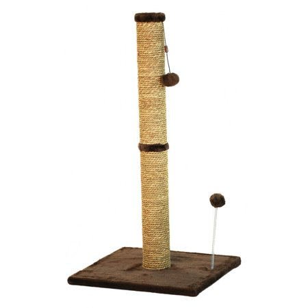 "Cat Craft 36"" Sea Grass Scratching Post (Dark Chocolate Fur 16x16 Base)"