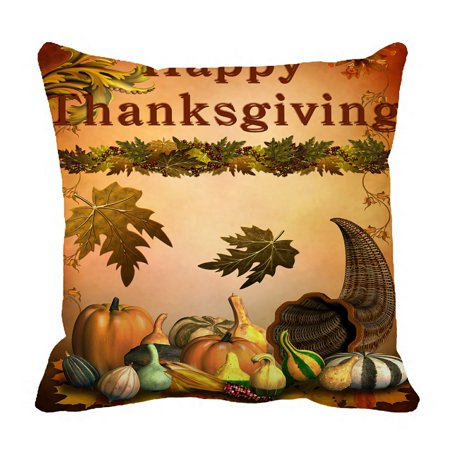 PHFZK Harvest Festival Pillow Case, Autumn Leaves Happy Thanksgiving Day Pumpkin Pillowcase Throw Pillow Cushion Cover Two Sides Size 18x18 inches
