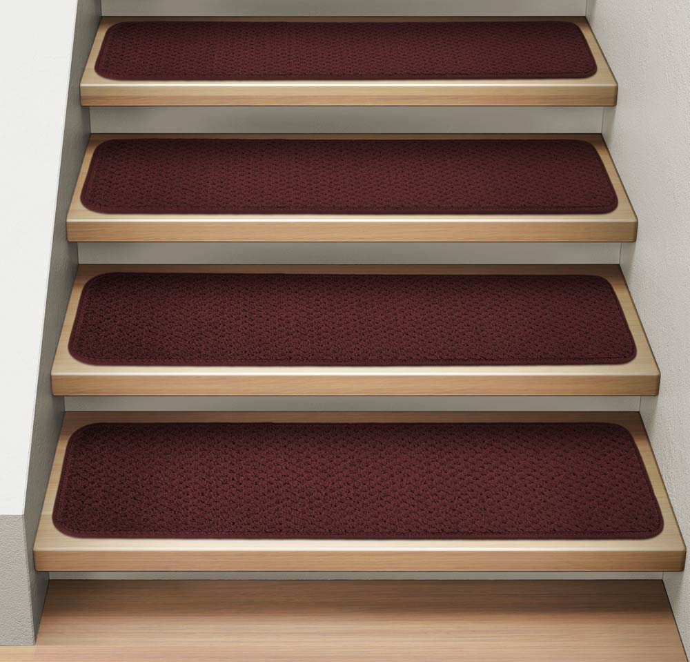 Set of 12 Attachable Indoor Carpet Stair Treads - Burgundy Red - 8 In. X 23.5 In. - Several Other Sizes to Choose From