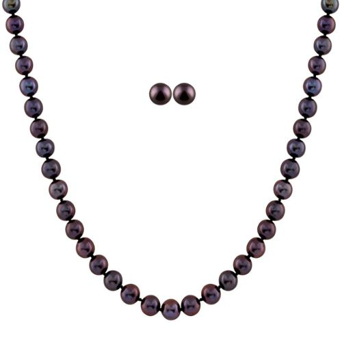 Gilo Creations Black Pearl Set with Fancy Clasp ( 8-8.5 mm)
