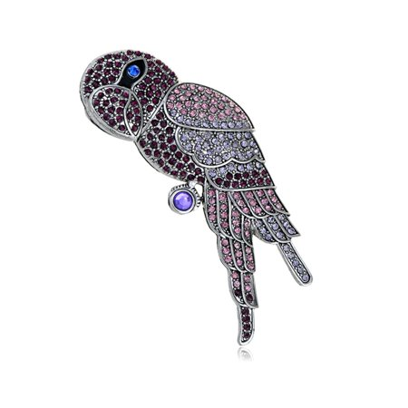 Vintage Repro Ruby Crystal Rhinestone Encrusted Blue-Eye Parrot Bird Pin Brooch