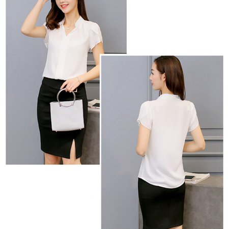 Women Summer Chiffon Short Sleeve Shirt Ladies Casual V-Neck Blouse Tops