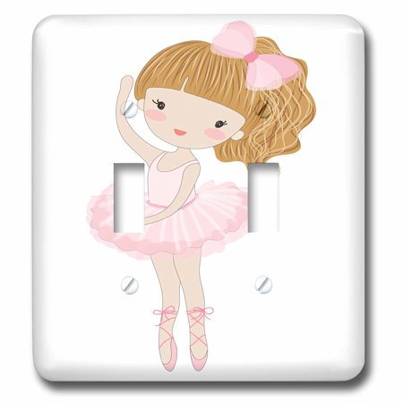 3dRose Cute Little Dancing Ballerina Little Girl Illustration - Double Toggle Switch
