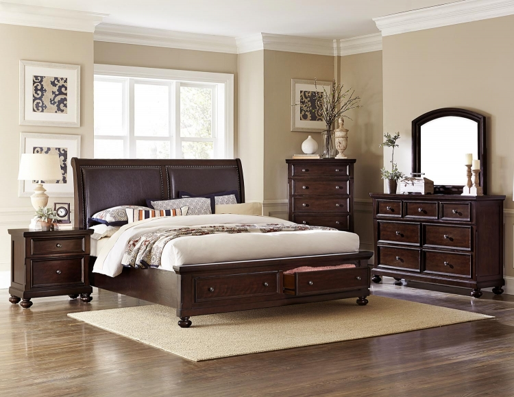 Fowler Queen 4 Piece Bedroom Set In Dark Cherry   Walmart.com