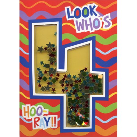 Paper House Productions Look Who's 4 Confetti Shaker 3D Age 4 / 4th Birthday Card](Halloween Shaker Cards)