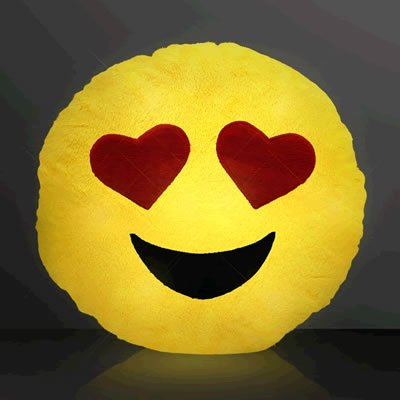 Light Up Emoji Heart Eyes Decrotive Pillow by Blinkee