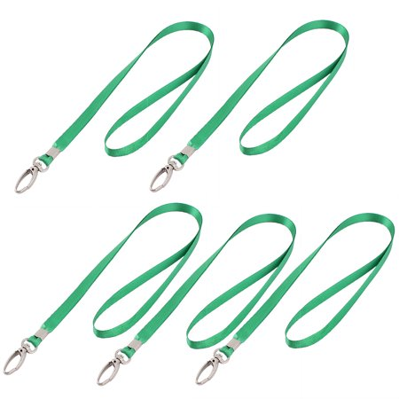 Unique Bargains 5 Pcs Neck Strap ID Card Badge Holder Lanyard School Office Bank Students Stationery Green - Green Lanyards
