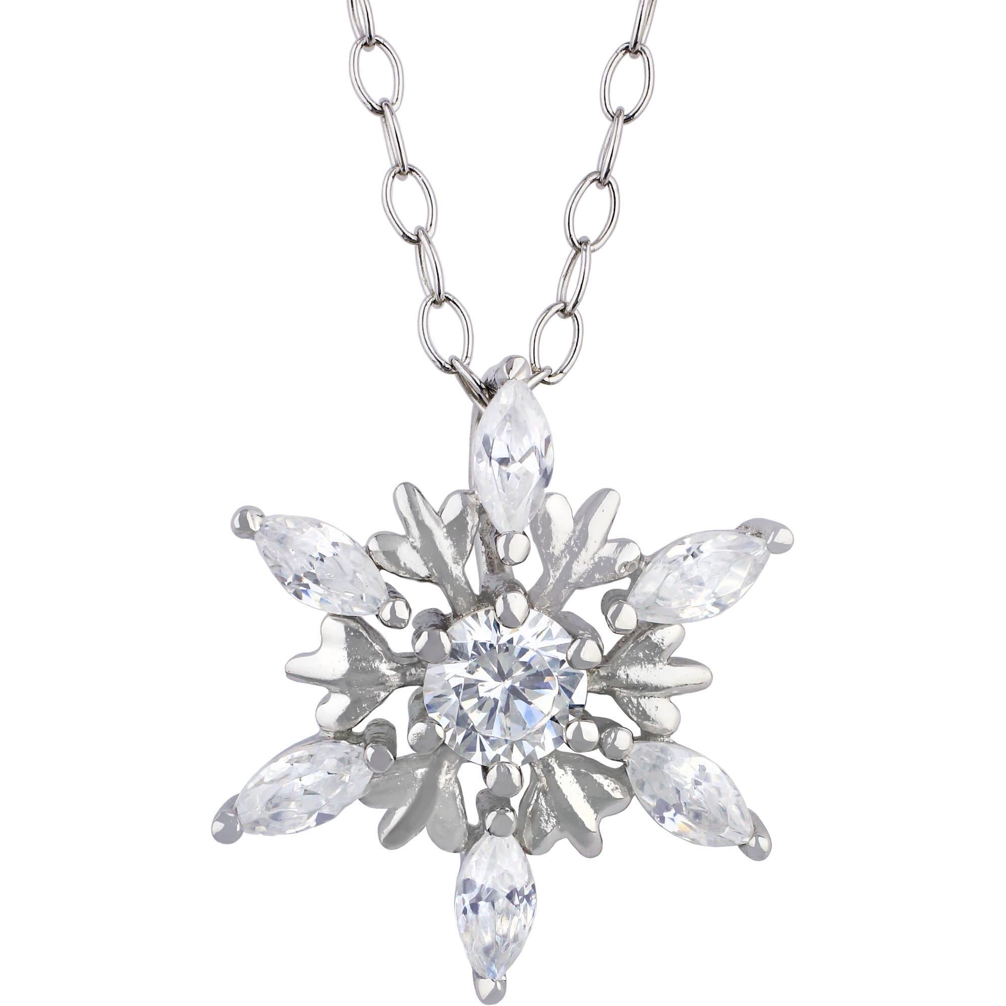 Truly Radiant CZ Sterling Silver Snowflake Pendant Necklace With Gift Box    Walmart.com