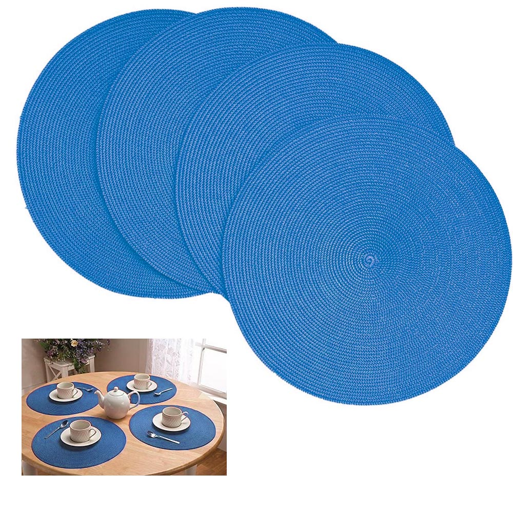 4 Pc Round Woven Placemat Kitchen Home Decor Table Protection Spiral Mat New !
