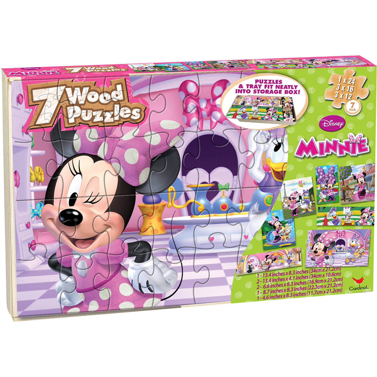 Disney Minnie Mouse 7 Wood Jigsaw Puzzles in Wood Storage Box