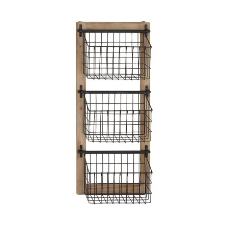 Decmode Industrial Wood and Iron 3-Tier Basket Wall Rack, Black