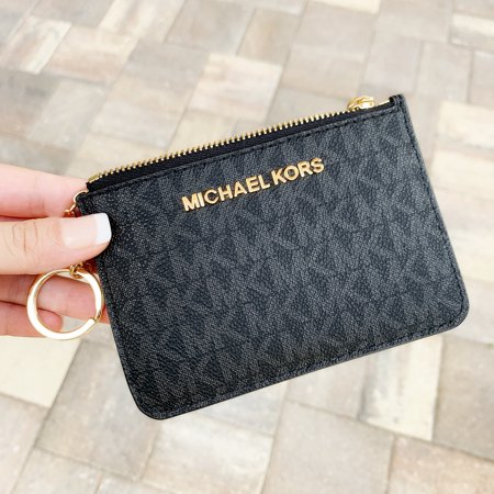 Michael Kors Jet Set Travel Small Top Zip Coin Pouch ID Holder Black ()