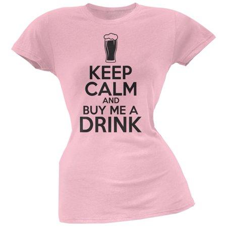 St. Patricks Day - Keep Calm Buy Me A Drink Light Pink Soft Juniors T-Shirt