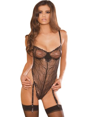 d59d71731922e Product Image Black Mesh Teddy with Gold Embroidery Womens Sexy 1 Piece See  Through Lingerie
