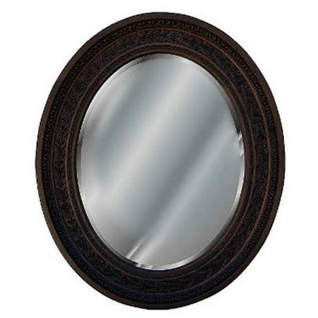 Antique Leaf Oval Walnut Decorative Mirror