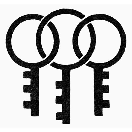 Stretched Canvas Art Symbol Three Keys Njapanese Symbol Of Good