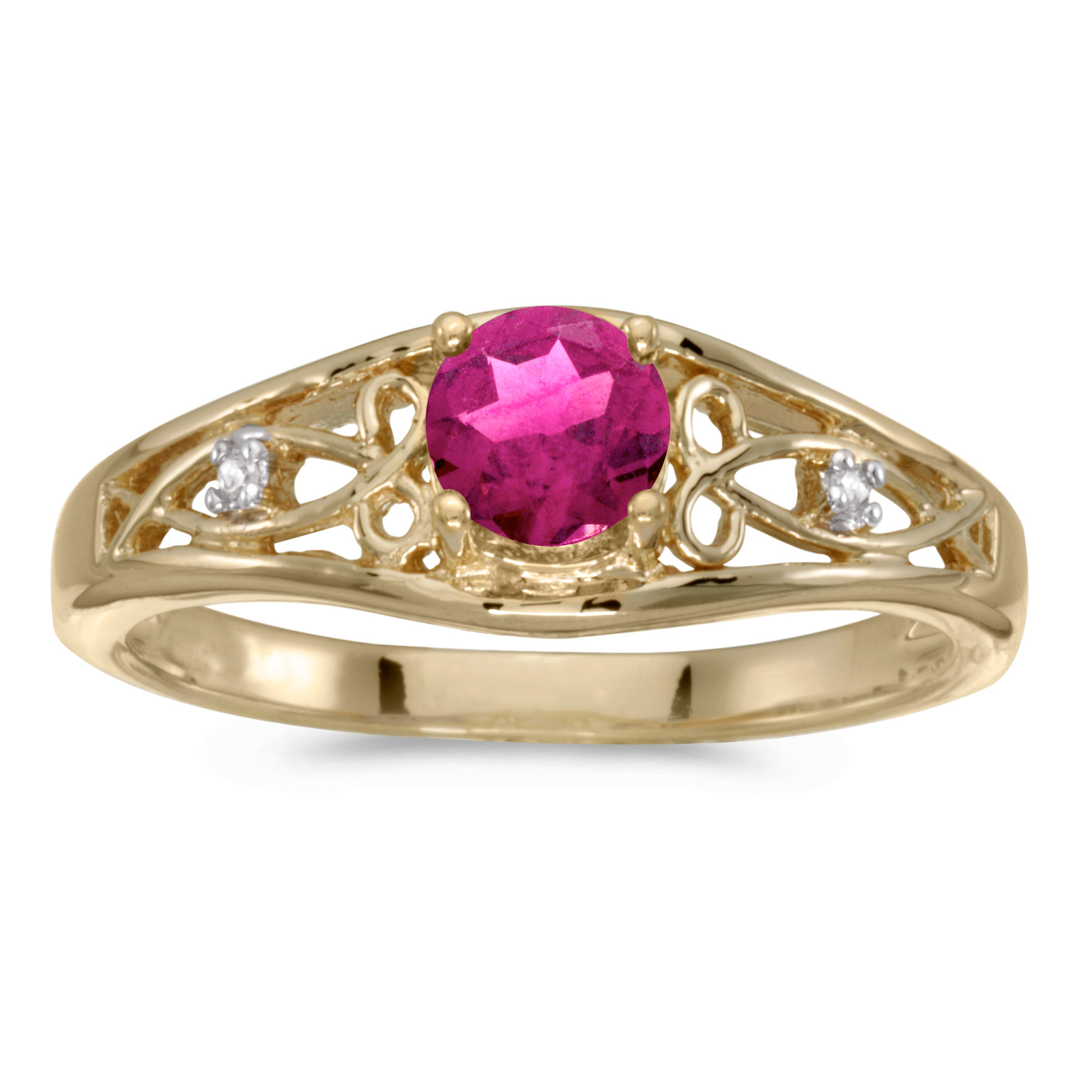 14k Yellow Gold Round Pink Topaz And Diamond Ring by