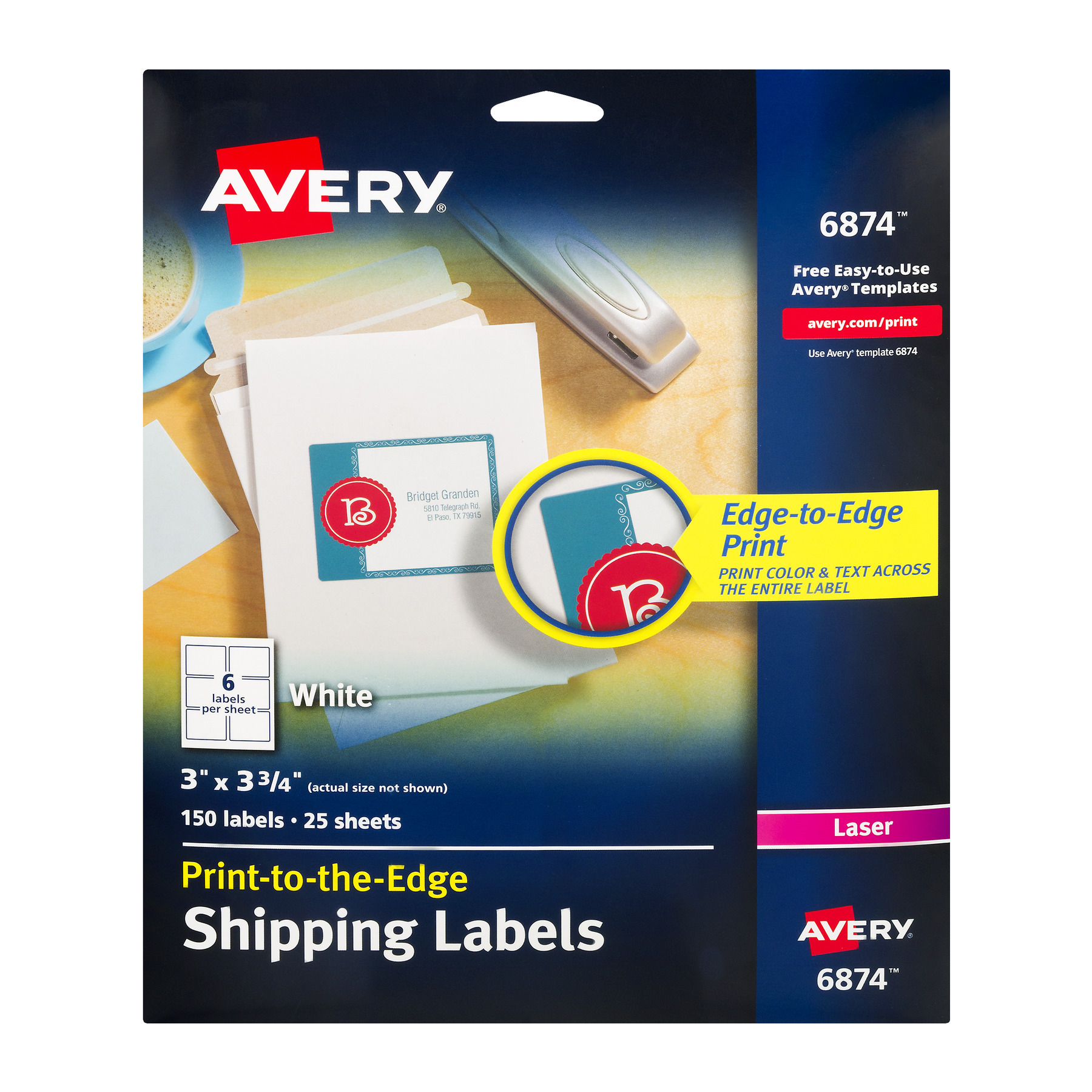 "Avery(R) Print-to-the-Edge Shipping Labels for Color Laser Printers and Copiers 6874, 3"" x 3-3/4"", Pack of 150"