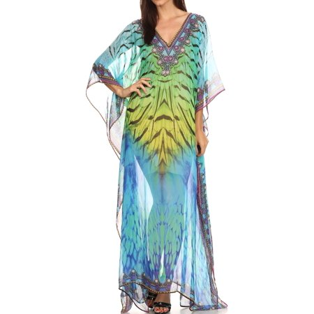 Sheer Caftan - Sakkas Wilder Printed Design Long Sheer Rhinestone Caftan Dress / Cover Up - Green Yellow / Multi - One Size Regular