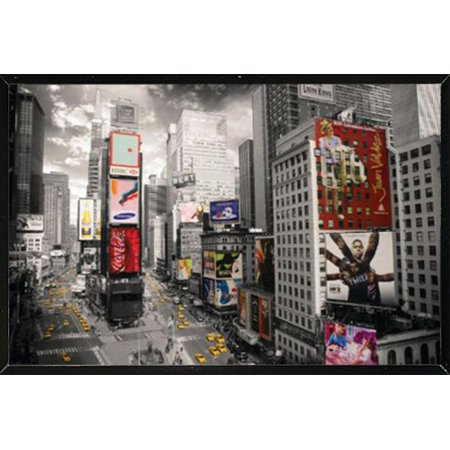 New York Times Square Poster in a Black Thin Poster Frame (24x36 ...