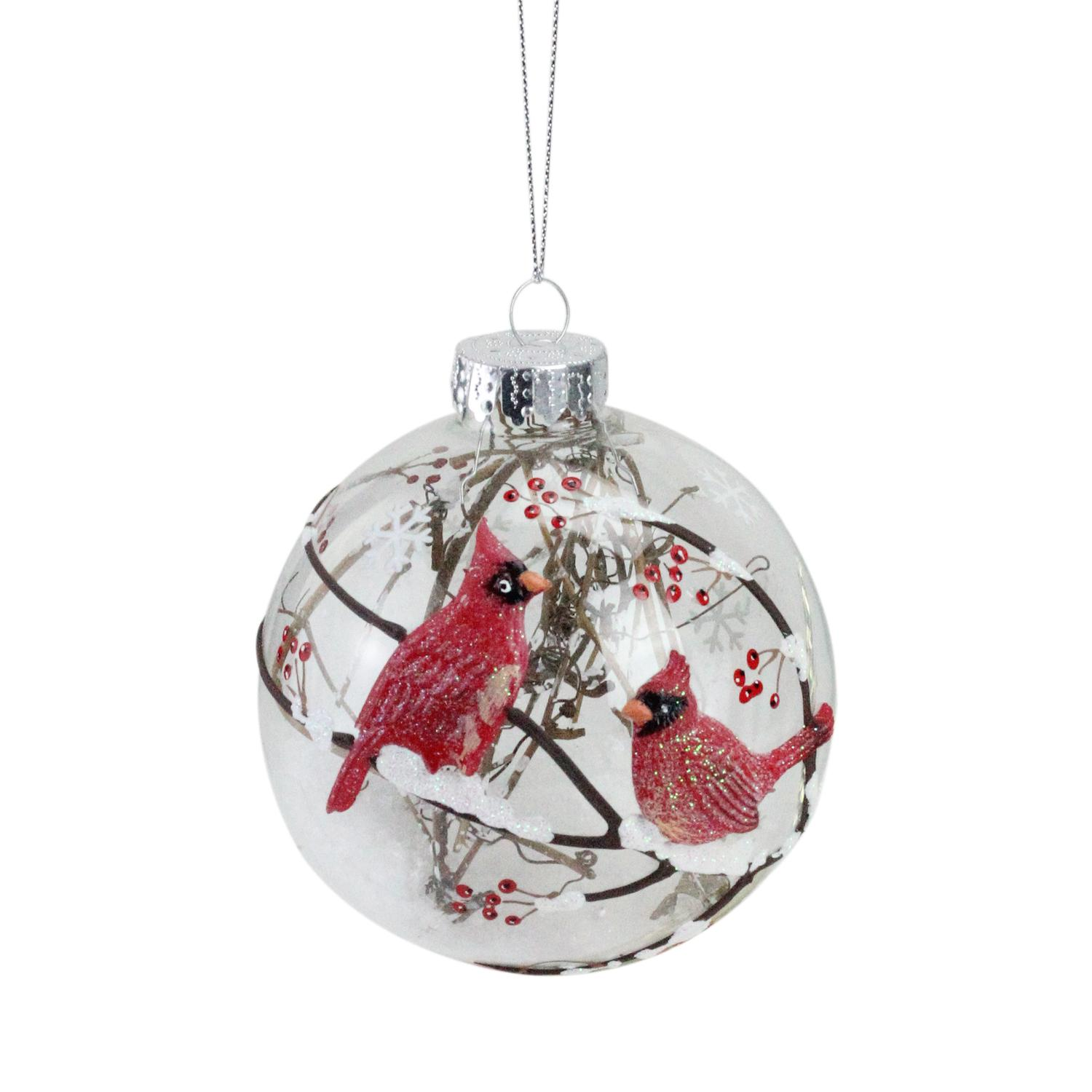 Branch And Snow Filled Glass Ball Ornament With Red