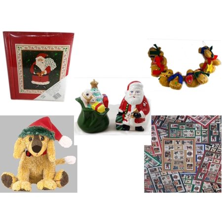 Christmas Fun Gift Bundle [5 Piece] - Lego Merry  20 Page Photo Album - String of Gingerbread  w/ Wood Stars & Hearts 4.5