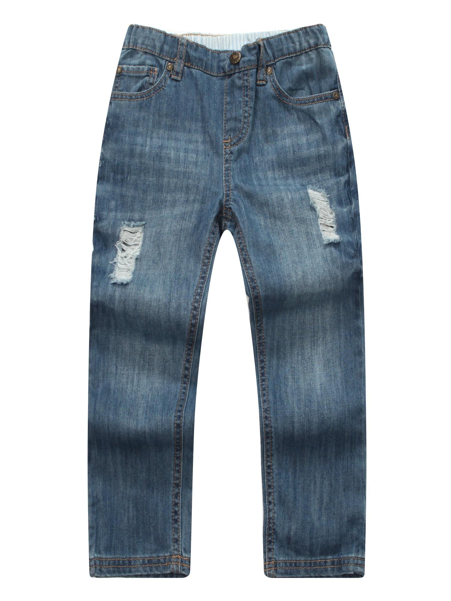 Richie House Little Girls Light Blue Ripped Elastic Waistband Denim Pants 2-7