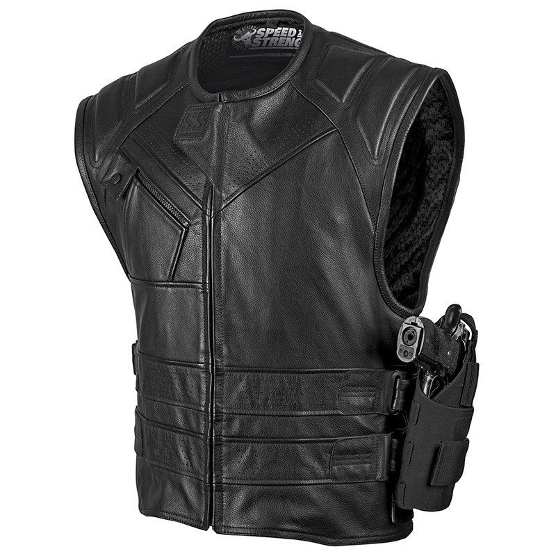Speed & Strength Quick and the Dead Mens Leather Vest Black