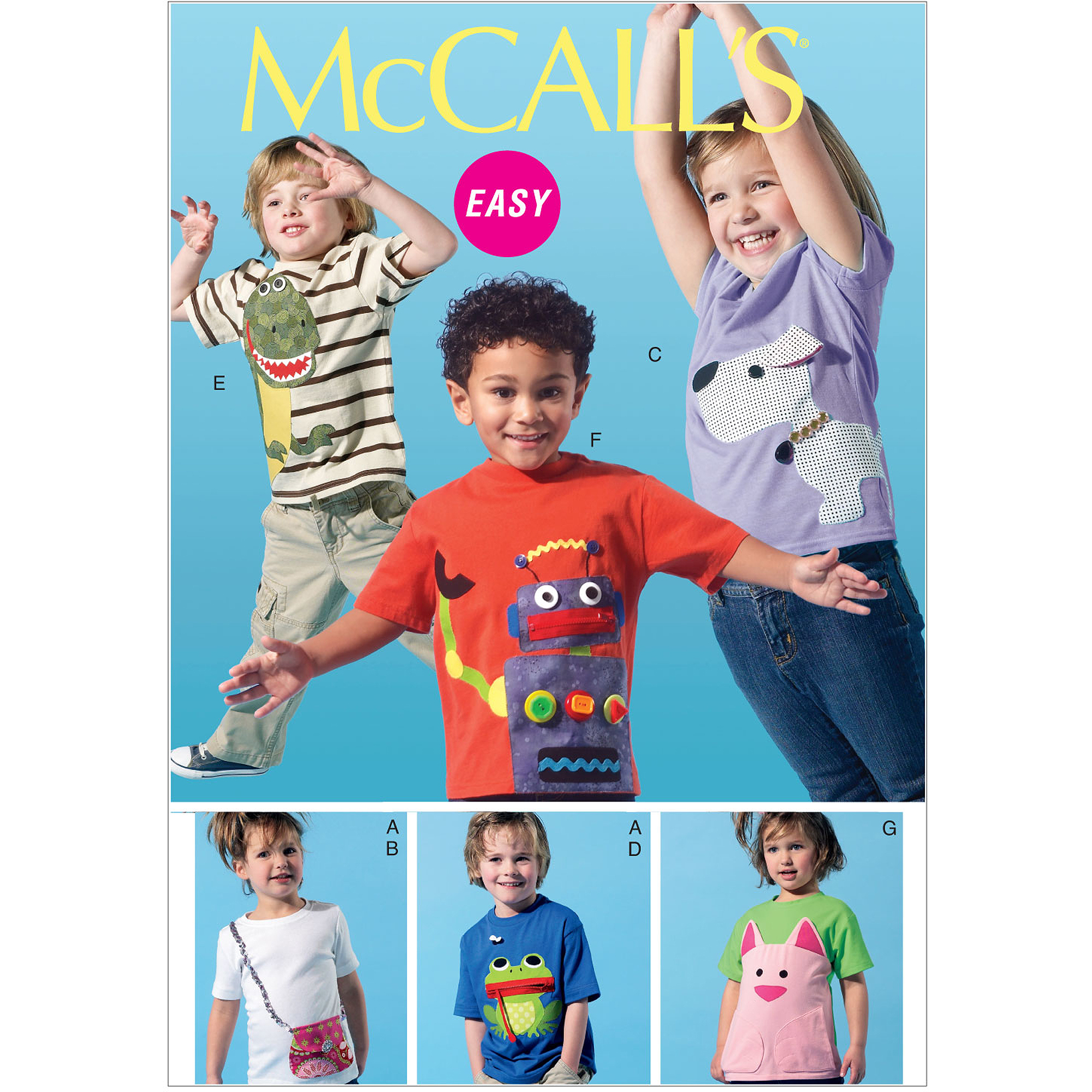 McCall's Pattern Children's, Boys' and Girls' Tops and Appliques, CDD (2, 3, 4, 5)