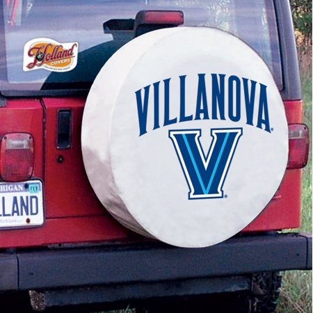 Villanova Tire Cover with Wildcats Logo on White Vinyl Size: A - 34 x 8