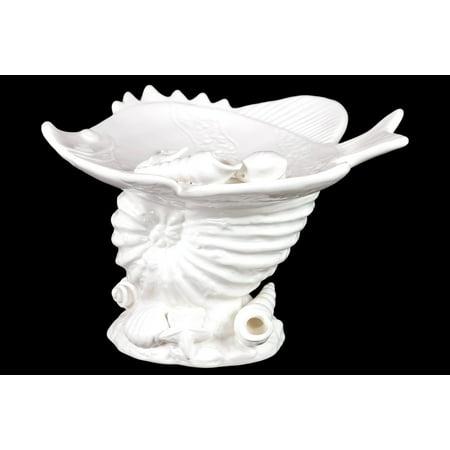 Attractive & Delightful Ceramic Seashell W/ Fish Platter In White ()