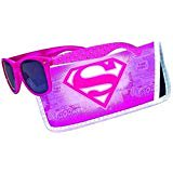 Sunglasses with Coordinating Soft Sunglass Case (Pink Superman Logo, Black)