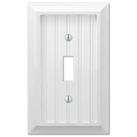 - Cottage Wood Single Toggle Wall Switch Plate Outlet Cover, White