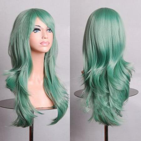 "BERON 28 "" Long Big Wavy Hair Heat Resistant Cosplay Wig Hair Extensions Mint Green - image 1 de 1"