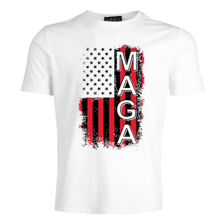 Fancyleo 2019 Casual Men Short Sleeve Solid Color T-Shirt Fashion American Flag And Trump Letter Maga Printed Tee Shirts Tops