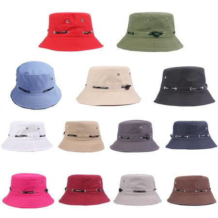 f009e5ef1e3 Micelec Solid Color Bucket Hat Unisex Outdoor Travel Fishing Men Women  Casual Sun Cap - Walmart.com