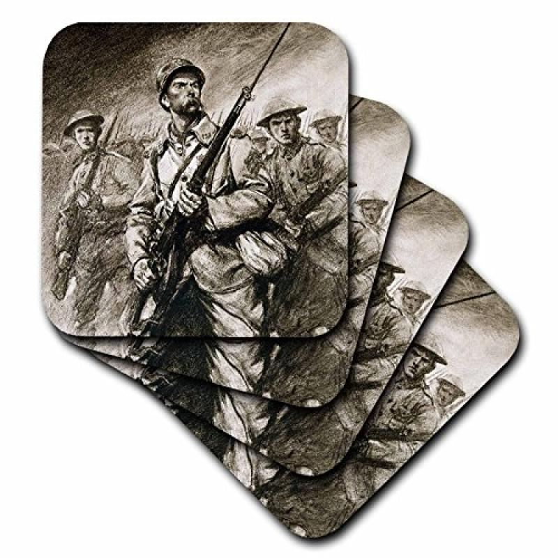 3dRose cst_83186_3 World War (19141918) Soldiers with Bay...